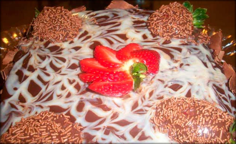 Morango com chocolate